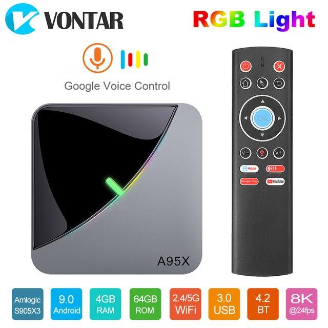 2020 VONTAR A95X F3 Không Khí 8K Đèn RGB Tivi Box Android 9 Amlogic S905X3 4GB 64GB Wifi 4K Smart TVBOX Android 9 A95XF3 Set Top Box