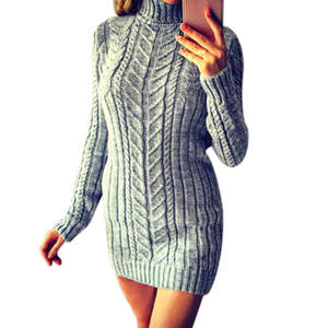 Stylish Bar Autumn Long Sweater Women High Neck Sweaters Winter Warm Knitted Turtleneck Sweater Lady Long Sweater Dress Pullover