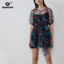 ROHOPO Puff Sleeve Organza Mesh Floral Double Layer Bow Belted Black Dress Transparent Chic Woman Holiday Vestido #2259