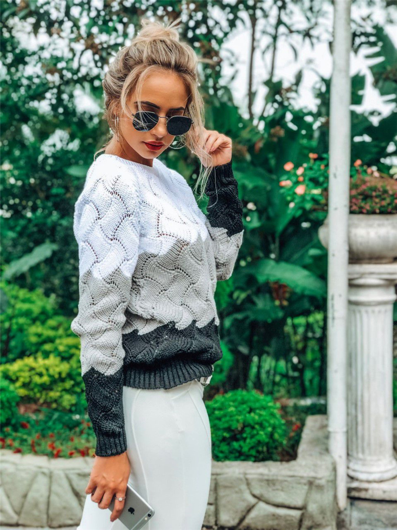 BEFORW 19 Women Winter Long Sleeve Crewneck Knitted Pullover Sweater Vintage Splice Casual Fall Womens Sweaters Pullovers Tops 4