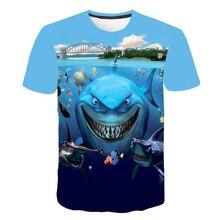 Cartoon Animal Shark Baby Boy Tshirt for Childrens Shirts Kids Boys Tops Tees Clothing Kid T Coral Reef Fish