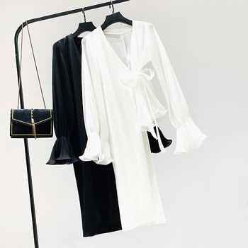 цена на Holiday Blouse Woman 2020 Spring Summer New Asymmetric Lace-up Shirt Irregular Bell-Sleeve Fashion Elegant V-neck Bow Blouses