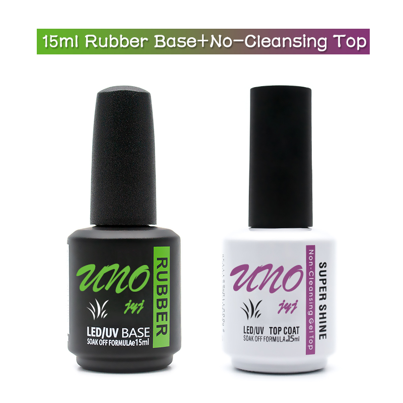 New Semi-permanent UV Gel Varnish 15ml Thick Nail Rubber Base Coat And No-Wipe Tempered Top Gel Polish For Nails Manicure Gellac