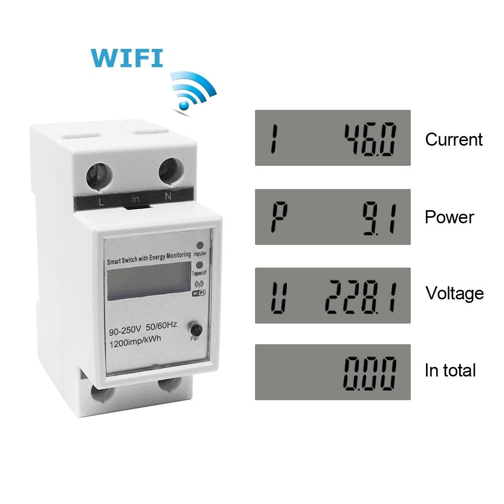 Mètre de Watt de Rail de WIFI Din AC 220V ampèremètre voltmètre monophasé volts ampères de puissance Active compteur de courant de tension Montior