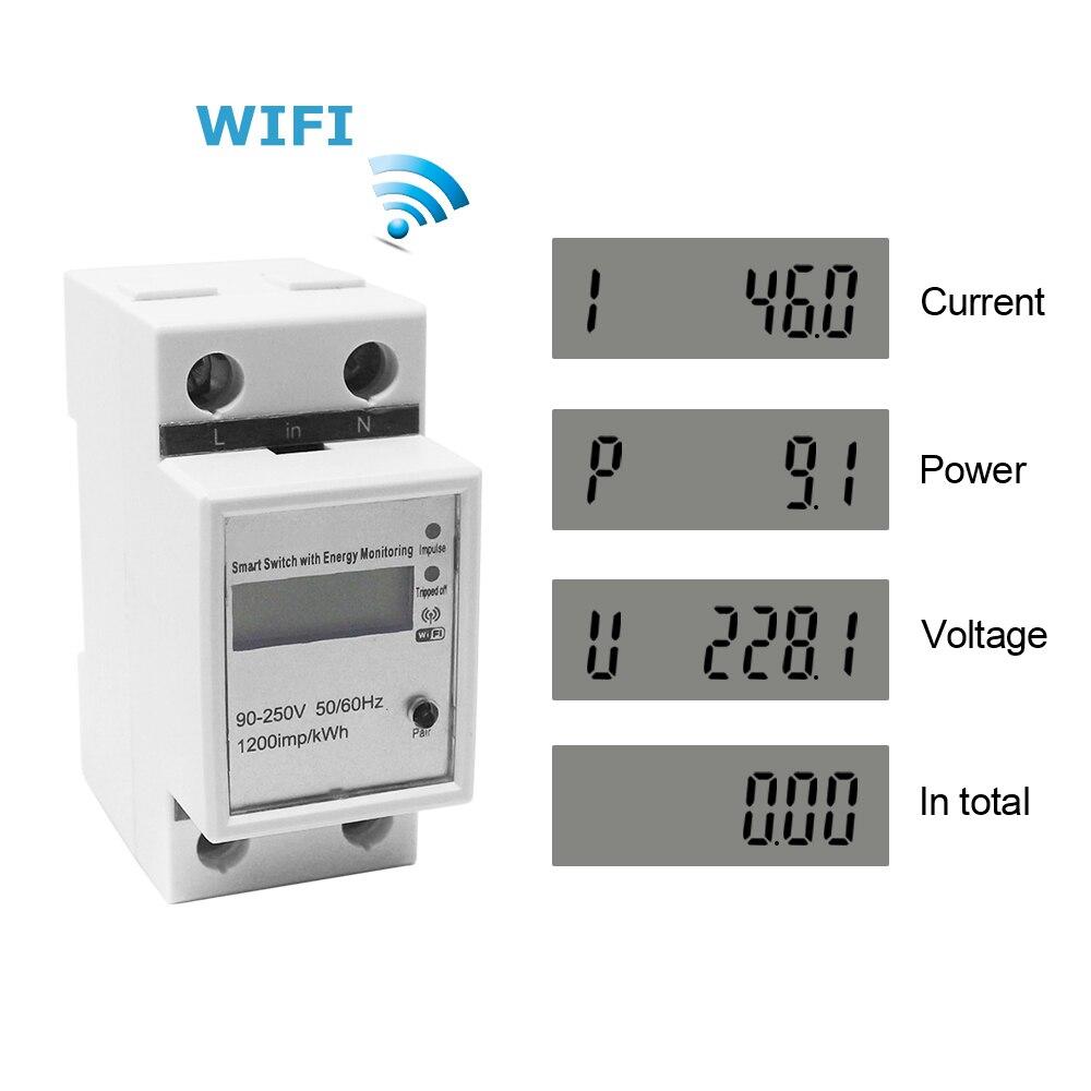 Compteur d/Énergie Monophas/é Num/érique Wifi Intelligent Monophas/é Rail Din Compteur avec /écran LCD M/ètre Watt KWh Wattm/ètre Consommation Electrique 60A 90-250V AC 50Hz
