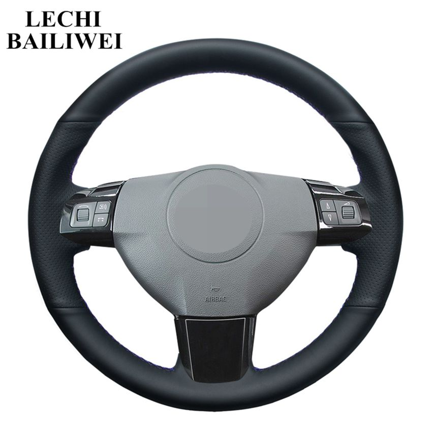 FOR VAUXHALL TIGRA B 2004-2009 REAL BLACK ITALIAN LEATHER STEERING WHEEL COVER