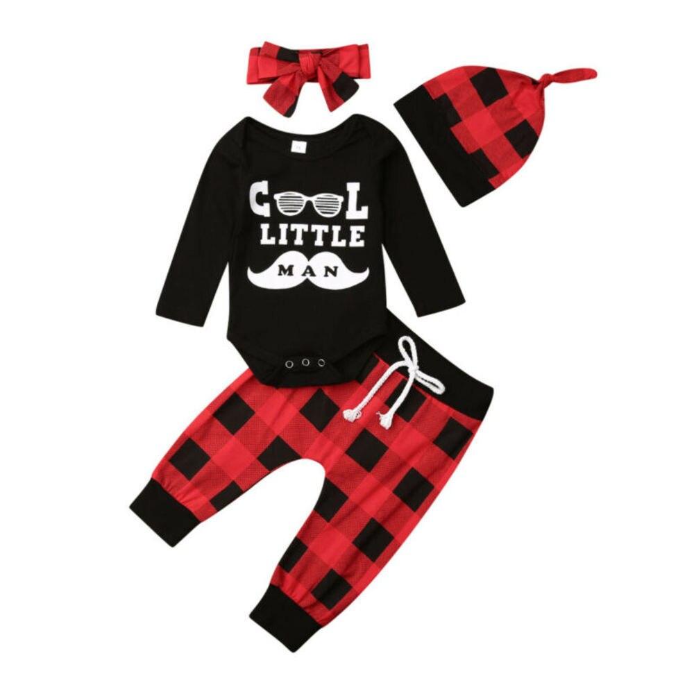 Hat Outfits set Plaid Pants 3pcs Kids Baby Boys Girls Romper Jumpsuit Tops