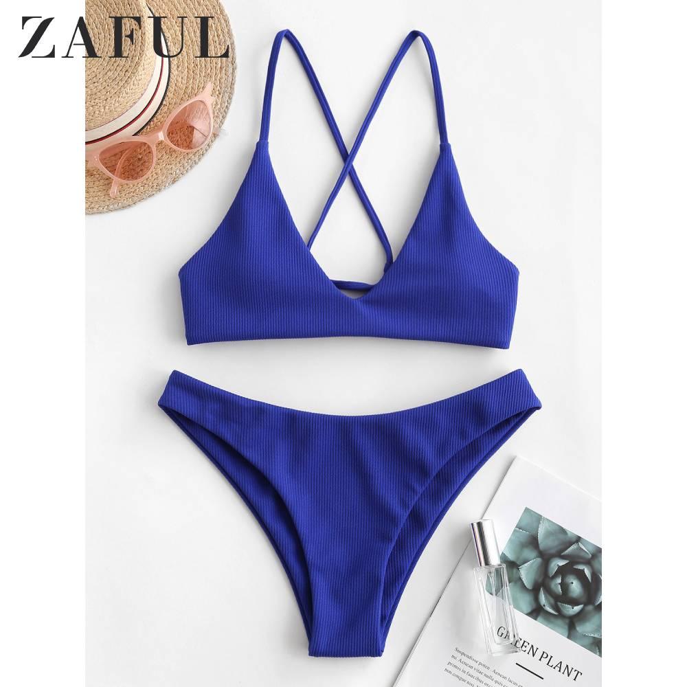ZAFUL Sexy Crisscross Ribbed Blue Solid Bikini Swimsuit Woman Thong Beach Wear Bathing Suit Biquini Swimwear Brazilian Bikinis