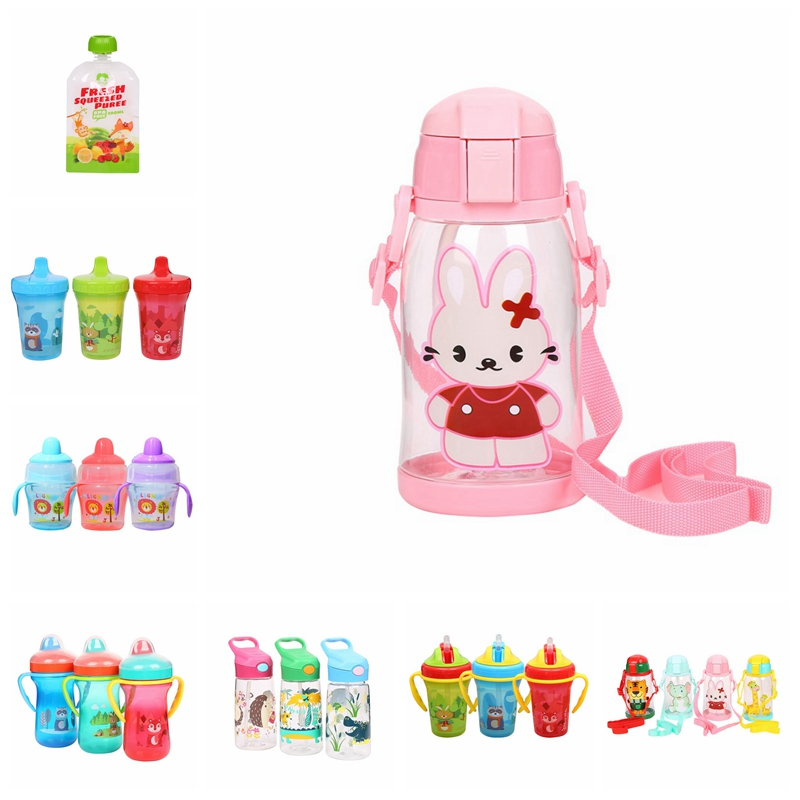 600ml Baby Food Squeeze Storage Bottle Silicone Sippy Kids Training Cups Baby Drinking Water Straw Handle Feeding Bottle