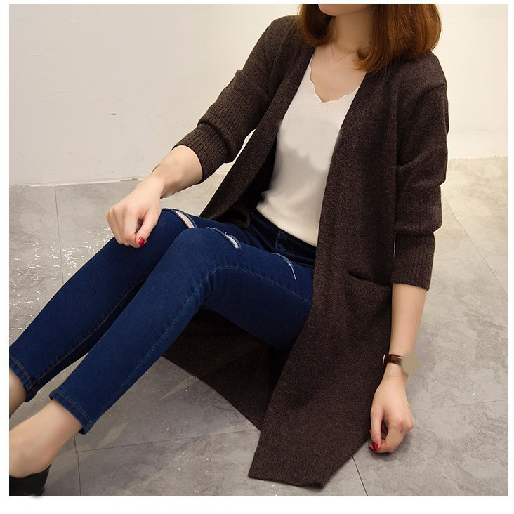 Spring Autumn Women Long Sweater Coat Loose Solid Cardigan Knitwear Long Sleeve Cardigan Coat Outwear