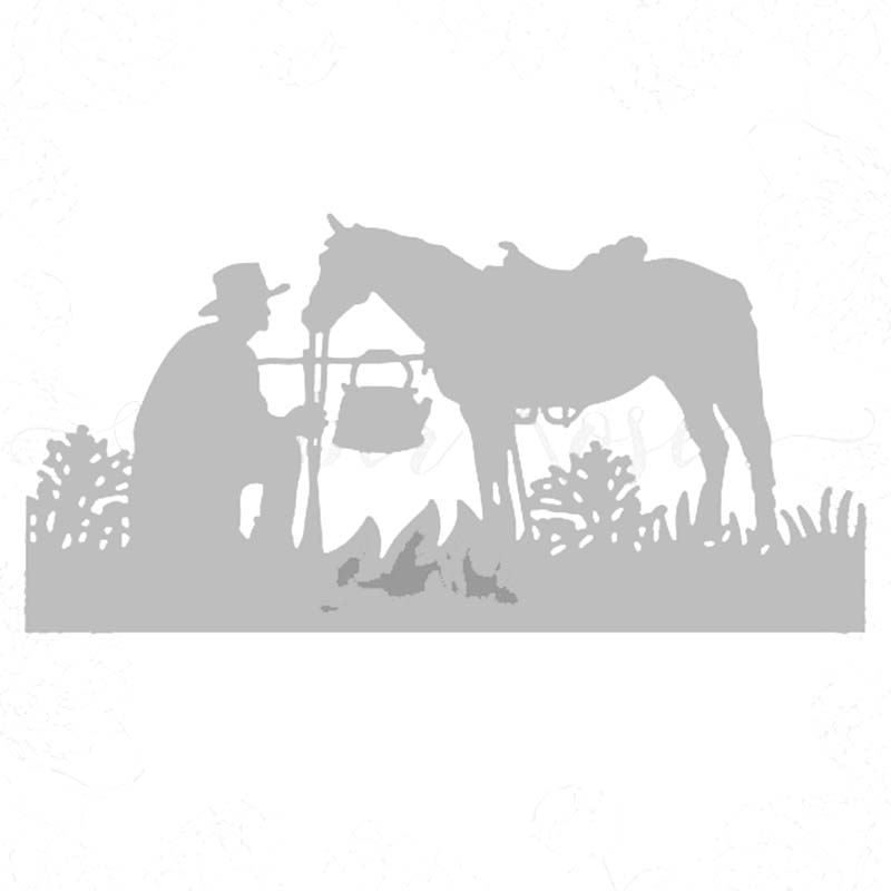 <font><b>Metal</b></font> Cutting Dies cut die Western cowboy and <font><b>horse</b></font> Scrapbook paper craft knife mould blade punch stencils dies image