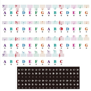 Color Piano Keyboard Stickers for 88/61/54/49/37 Key Multi-Color,Removable Letter Piano Stickers for Kid Learning Piano
