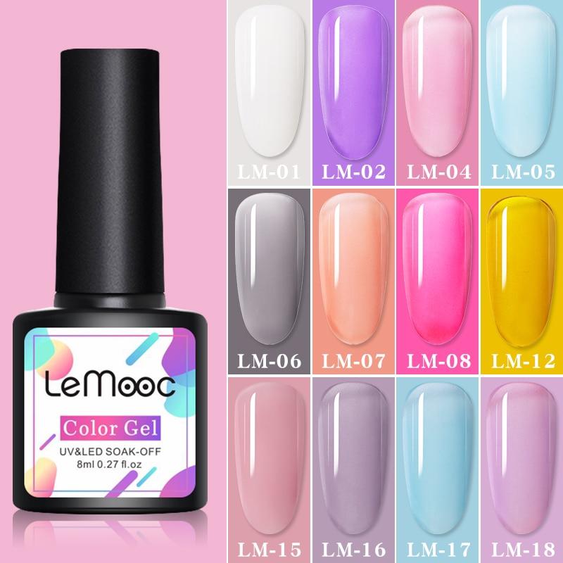 LEMOOC лак для ногтей Гель-лак 8 мл, весенние, яркие красивые наклейки для дизайна ногтей, семиперманентный базовое, топовое покрытие нужно УФ с...