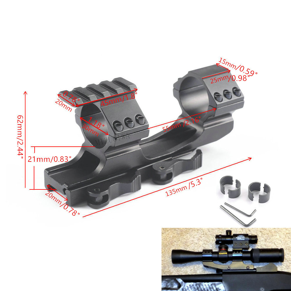 Scope Mount 1 Inch / 30 Mm Quick Release Cantilever Weaver Forward Reach Dual Ring For 20mm Picatinny Rail Rifle