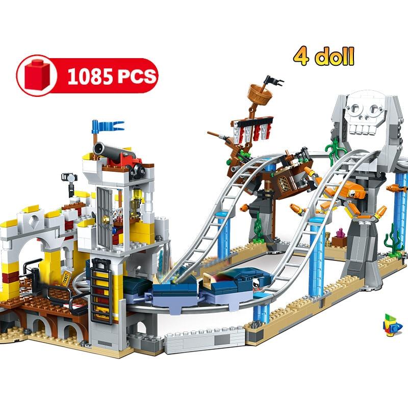 1085pcs 3 IN 1 Compatible Legoinglys City Pirate Roller Coaster Building Blocks Creators Bricks Toys For Friend Children