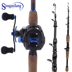Sougayilang 4 Sections Fishing Rod Spinning 1.8m 2.1m 2.4m Carbon Spinning Rod and Casting Baitcasting Reel Combo Lure Rod Set