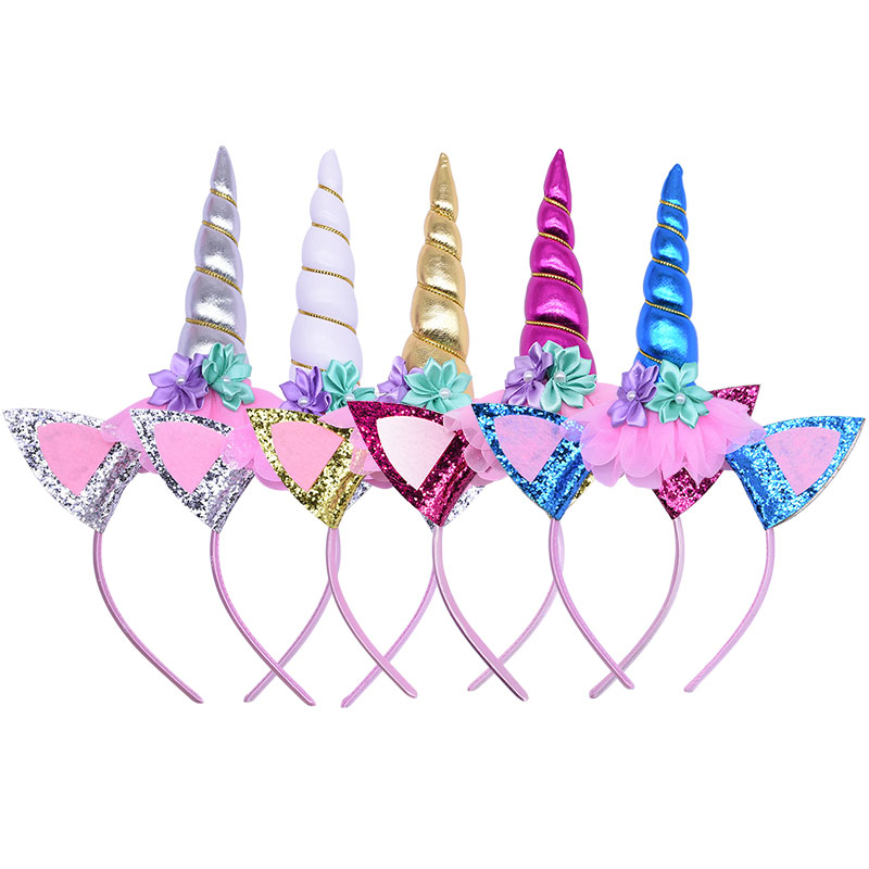 Flower Cat Ears Cute Kids Girl Unicorn Headband Children Headwear Horn Hair Band Photo Props Unicorn Birthday Party Decoration