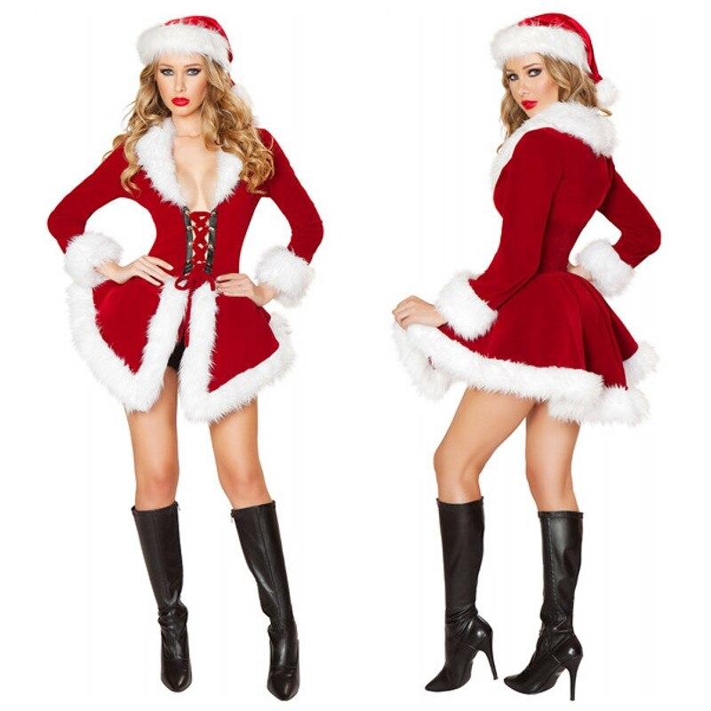 Sexy red velvet mrs santa claus short dress christmas costume