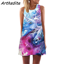 цена Arthsdite Space Galaxy Print Floral Flower Mini Party Dress Women 2019 Sexy Sleeveless Summer Beach Dress Boho Bohemian Sundress