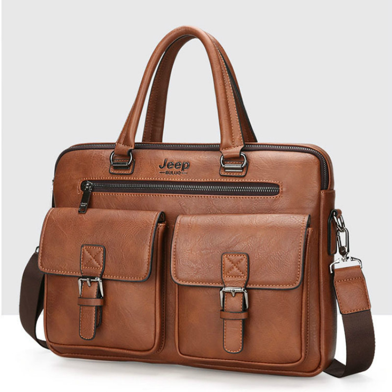 New Mens Briefcase Handbag Zipper Men Business Polyester Two Silt Pocket Soft Handle 14 Inches Briefcases Bags Large Laptop Bag