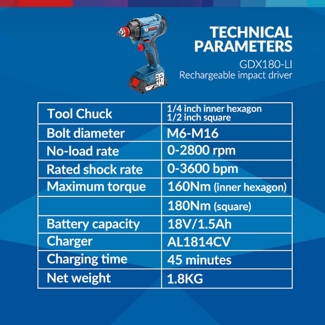 Bosch Original 18V Cordless Electric Impact Wrench Driver Socket Wrench Lithium Battery Hand Drill Installation Power Tools 6