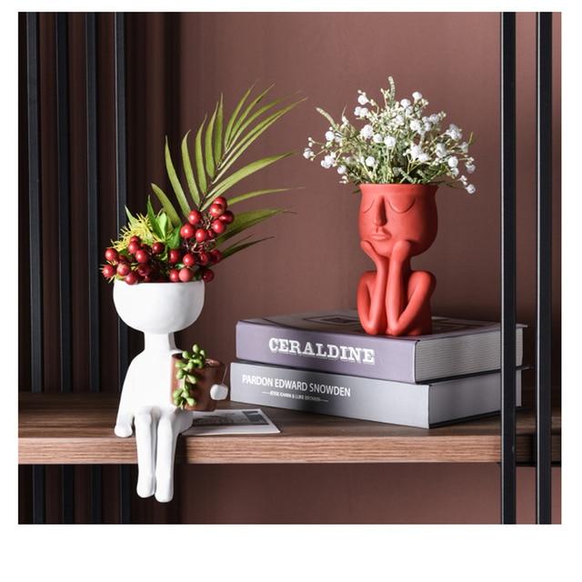 Character Portrait Flower Pot Resin Succulents Plant Pot Abstract Human Face Flower Pot Home Desktop Vase Micro Landscape Decor 1