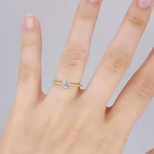 Image 5 - Kuololit Real 10K Yellow gold Natural Moissanite Rings for Women VVS D color Solitaire set ring for anniversary wedding promise