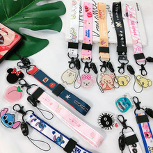 Cartoon mobile phone Portable short lanyard Hand rope for keys cord strap keychain Wrist keyring keycord