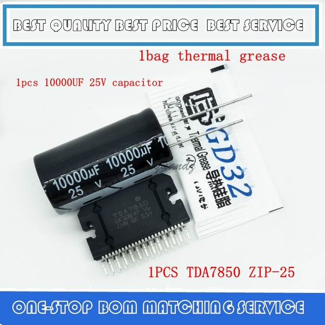 Car amplifier module TDA7850 TDA 7850 zip25 + 1 pcs 10000UF 25V capacitor + one bag thermal grease =A SET New ORIGINAL