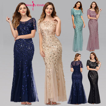 Beauty-Emily 2019 HOT Sale Tulle Mermaid Evening Dresses Long Short Sleeve Tiered Hems Prom Gowns Pleated Vestido de noche 2