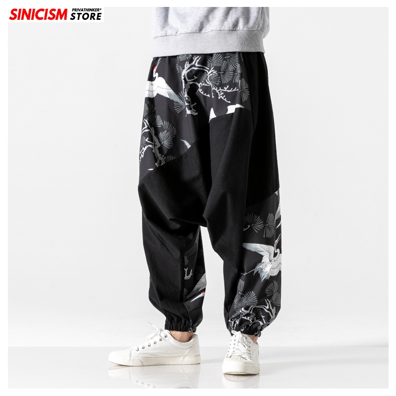 Sinicism Store Mens Loose Harem Pants Male Autumn Causal Baggy Traditional Pants 2019 Crane Print Cotton Pants
