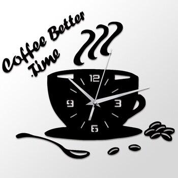 3D FAI DA TE Orologio Da Parete in Acrilico Moderna Cucina Complementi  Arredo Casa Caffè Momento Migliore Orologio di Figura della Tazza di Parete  ...