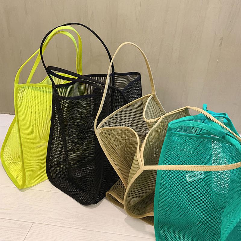 Women\'s 2021 new ins wind transparent mesh single shoulder bag fashionable lightweight all-match shopping bag Beach net bag