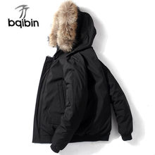 New Short Men Down Jacket Winter Thick Warm Youth Loose Casual Coat 90% White Duck Down Fashion Hooded Parkas Black(China)