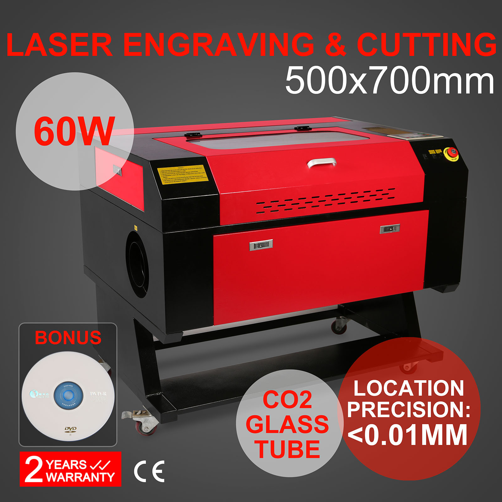CO2 USB Laser 60W  Engraving Cutting Machine 700x500mm Engraver Cutter Wood Working