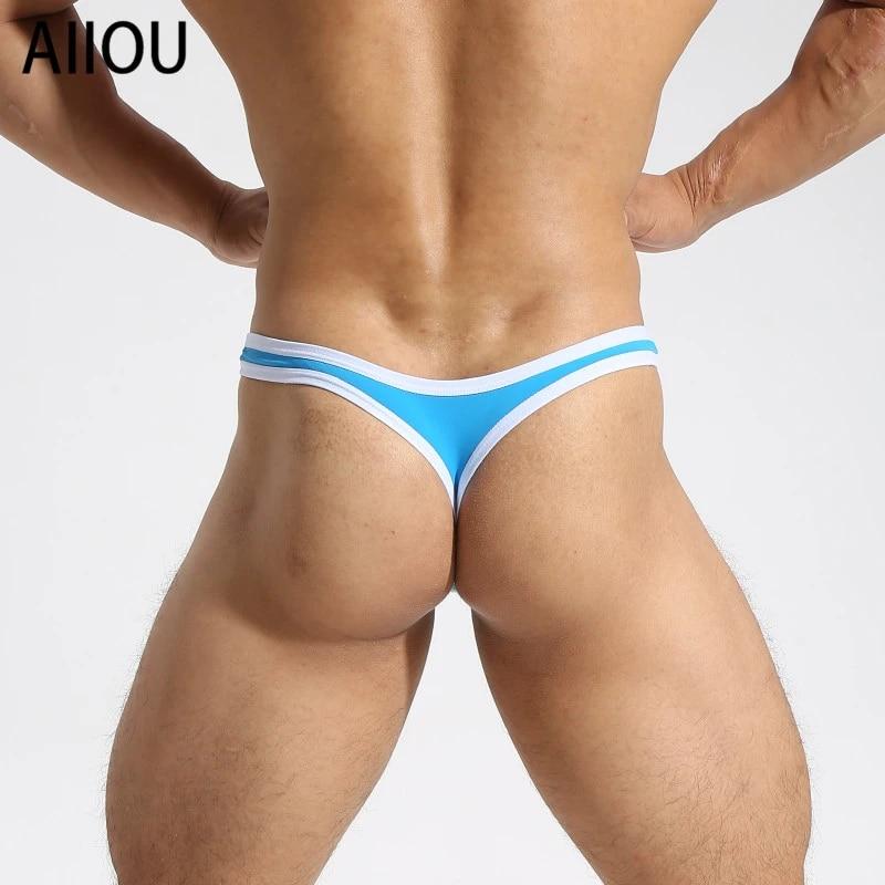 Men/'s Sissy G-String Thong Underwear T-Back Bikini Briefs Hole Pouch Underpants