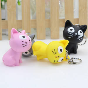 1 Pcs Lovely Cartoon Cheese Cat Keychain Bag Pendant Key Holder Kawaii Led Keyring Figures Toys for Kids Holiday Gift