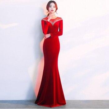 Long-sleeved velvet evening dress female 2019 new banquet high-end sexy elegant slim show host annual meeting evening dress