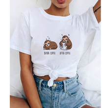 Lus Los Funny Snooze Lazy Sloth Women T-shirt New Sloth Animal Cup Top Loose Cut
