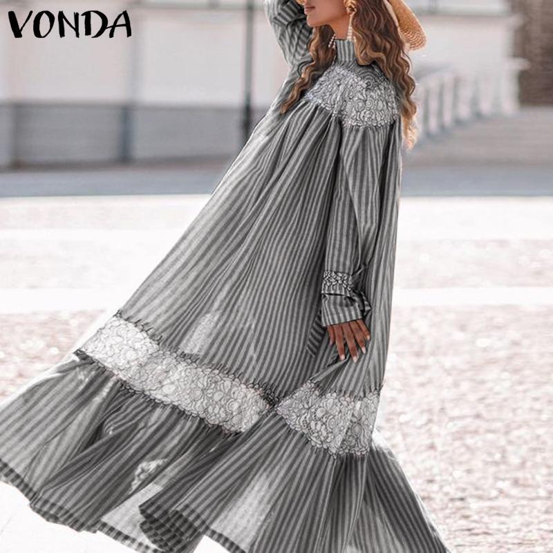Летнее платье Макси 2021 VONDA Повседневная c воротником; Рубашка с длинными рукавами в стиле ретро платья размера плюс в винтажном стиле; В моза...