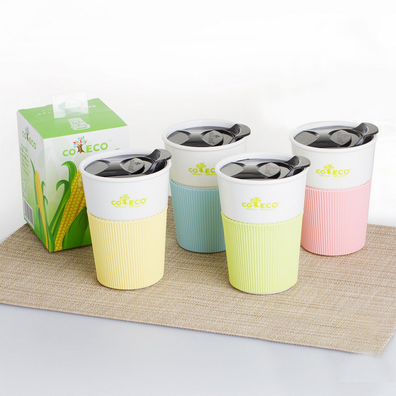 Clearance Sale Reusable Travel Cup Coffee Cup Pla Mug with Lid and Silicone Sleeve for Tea and Coffee Healthy Environmental in Mugs from Home Garden