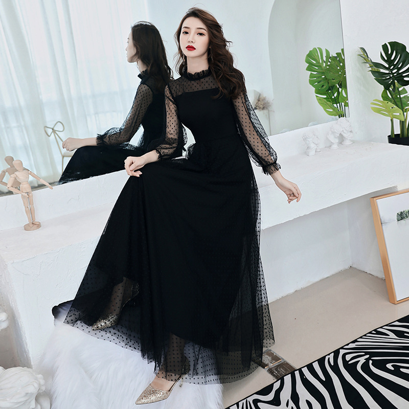 Evening Gown Women's 2019 New Style Banquet Black And White With Pattern Nobility Host Long Sleeve Long Autumn Debutante Party D