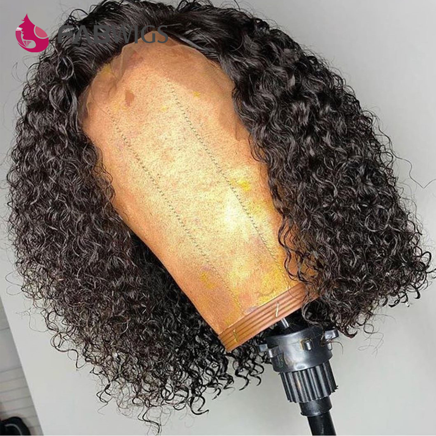 Fabwigs 180 Density Curly Lace Front Human Hair Wigs Pre Plucked Brazilian Remy Bob Lace Front