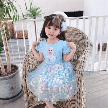 Snow queen dress blue dress girl tulle dresses girl sequin dresses kids cotton summer 2020 wedding striped party clothes kids girl dresses summer dress button striped children girl dress 100