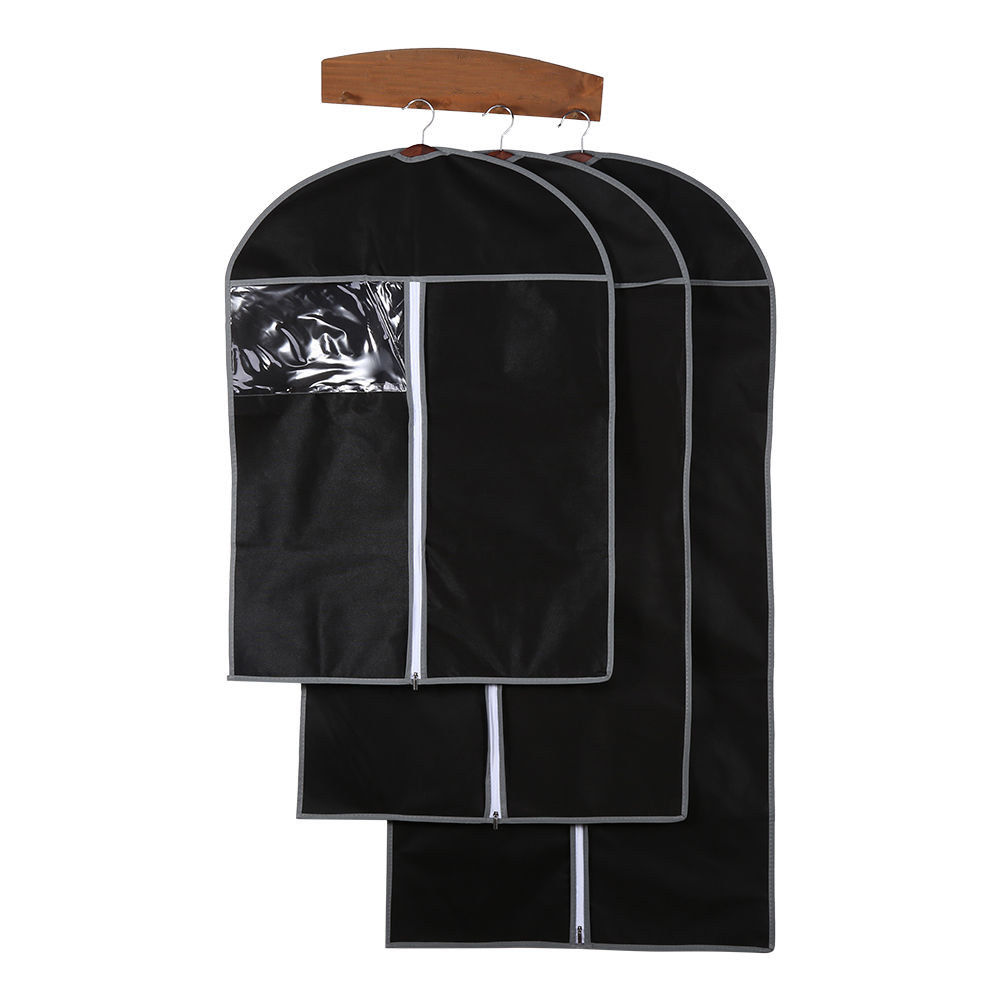 Beige/Black Home Dress Clothes Garment Suit Cover Case Dustproof Storage Bags Protector Clothing Dust Cover Pouch Cover Clothes