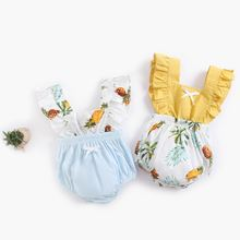 Модный льняной комбинезон с оборками для новорожденных девочек