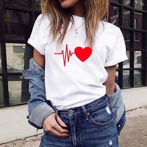 Модная женская Свободная футболка с коротким рукавом и принтом сердца, повседневный топ с круглым вырезом, подарок на день Святого Валентин...