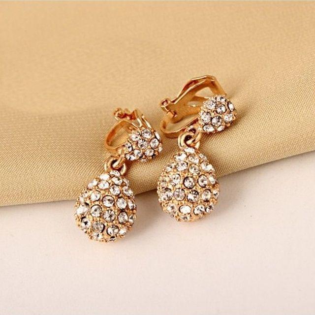 Jiofree coreia strass clipe de ouro brincos para festa de casamento nupcial feminino brincos jóias 2