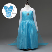 Cheap Halloween Costumes for Kid Toddlers Girl Dress Party Blue Long Sleeve Mesh Girls Queen Elsa Dress with Cape(China)