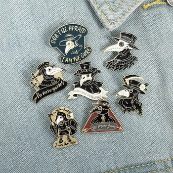 Creative Crow Enamel Lapel Pins Punk Cartoon Animals Hat Brooches Fashion Bag Clothes Badge Jewelry Gift for Kids Girls Friend image